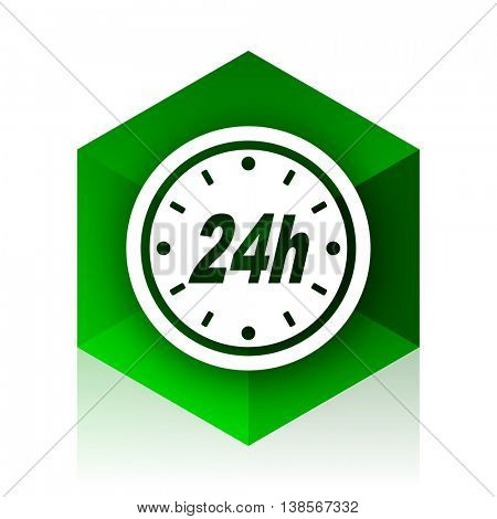 24h cube icon, green modern design web element