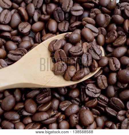 Closeup Coffee Bean scoop by wooden spoon