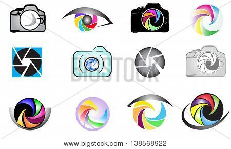 Set of camera logo isolated on white background.Photography logo