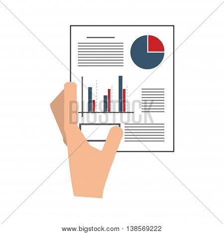 flat design hand holding graph chart icon vector illustration