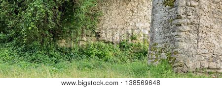 Big panorama of old ruins of old castle in Svirzh, Ukraine