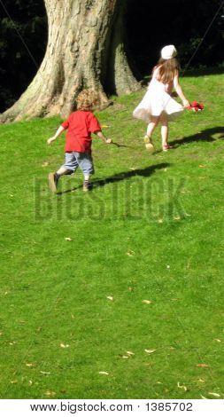 Children/Boy And Girl Running/Playing