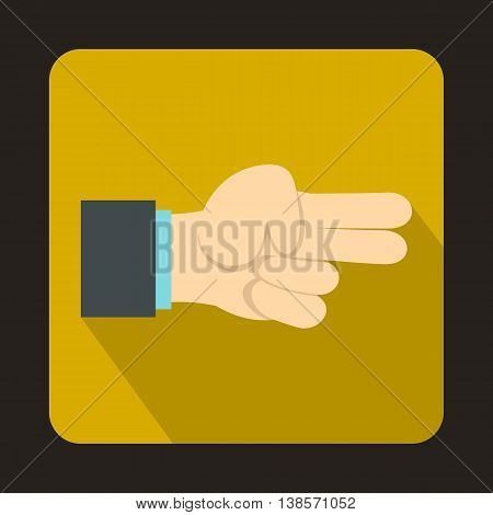 Hand showing two fingers icon in flat style on a yellow background