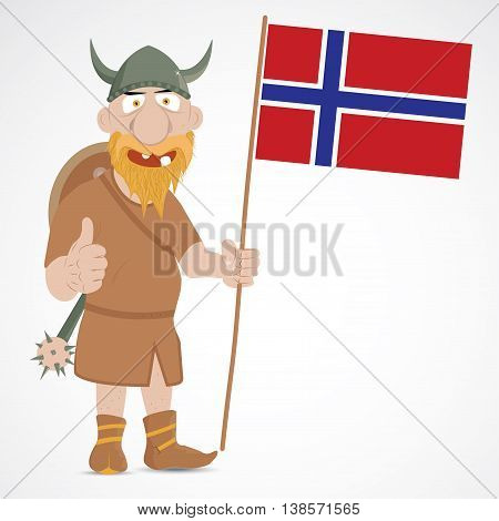 Funny cartoon viking with thump up and holding Norway flag
