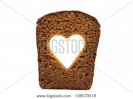 slice of black rye bread isolated on white background
