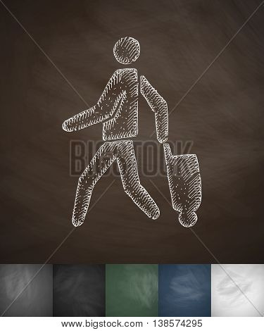 emigrant with suitcase icon. Hand drawn vector illustration. Chalkboard Design