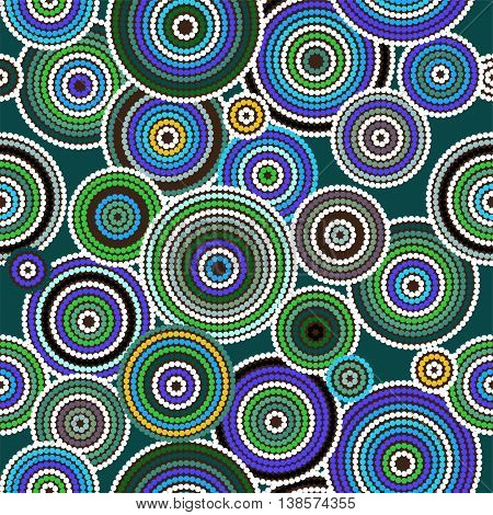 Aboriginal dots and circles art vector seamless background