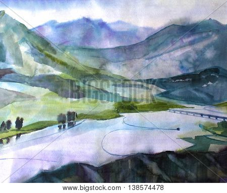 Watercolor landscape. Summer sunny day. Meandering river in the green meadows of the valley