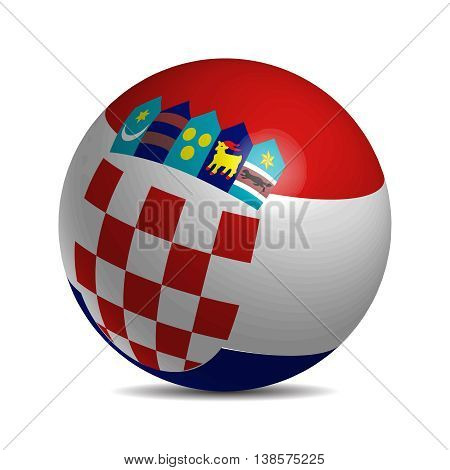 Croatia flag on a 3d ball with shadow, vector illustration