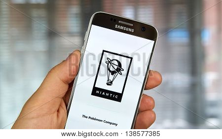 MONTREAL CANADA - JULY 14 : Niantic logo and application on Samsung S7 screen. Niantic Inc. is an American software development company based in San Francisco California.