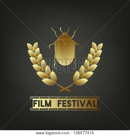 Golden Beetle. Festival symbol template. Sign - Film Festival. Camera film 35 mm roll gold, festival movie poster. Black background. Vector illustration.