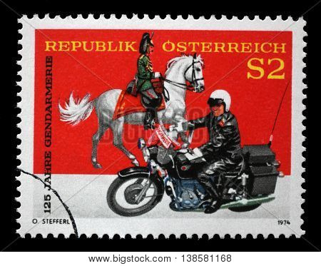 ZAGREB, CROATIA - JULY 02: stamp printed by Austria, shows Gendarmes, circa 1974, on July 02, 2014, Zagreb, Croatia