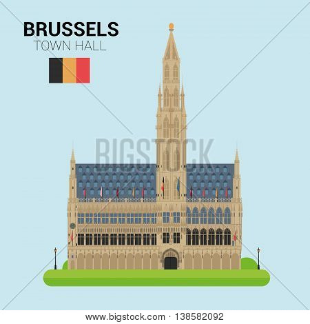 Monuments and landmarks Vector Collection: Brussels Town Hall. Descripción: Vector illustration of Brussels Town Hall (Brussels, Belgium). Monuments and landmarks Collection. EPS 10 file compatible and editable.