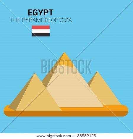 Monuments and landmarks Vector Collection: The Pyramids of Giza. Descripción: Vector illustration of  The Pyramids of Giza (Egypt). Monuments and landmarks Collection. EPS 10 file compatible and editable.