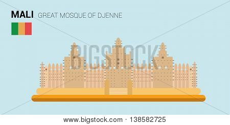 Monuments and landmarks Vector Collection: Great Mosque of Djenne. Descripción: Vector illustration of Great Mosque of Djenne (Djenne, Mali). Monuments and landmarks Collection. EPS 10 file compatible and editable.