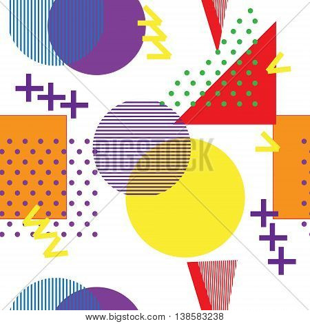 Style retro Memphis 80s or ' 90s-inspired fashion abstract background seamless pattern. triangles circles and lines. Good design for fabric wrapping paper and Wallpaper on the site.