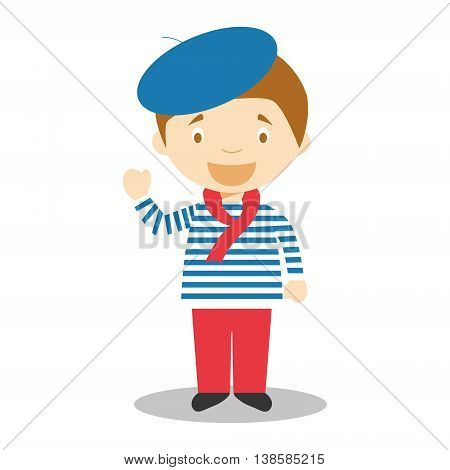 Character from France dressed in the traditional way Vector Illustration. Kids of the World Collection.