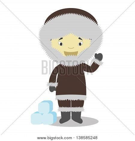 Character from Greenland dressed in the traditional way Vector Illustration. Kids of the World Collection.