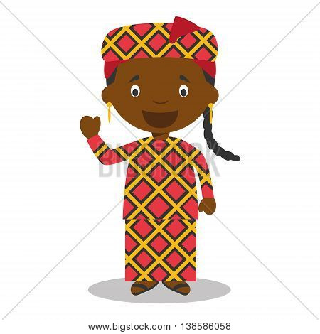 Character from Mali or Central Africa dressed in the traditional way Vector Illustration. Kids of the World Collection.