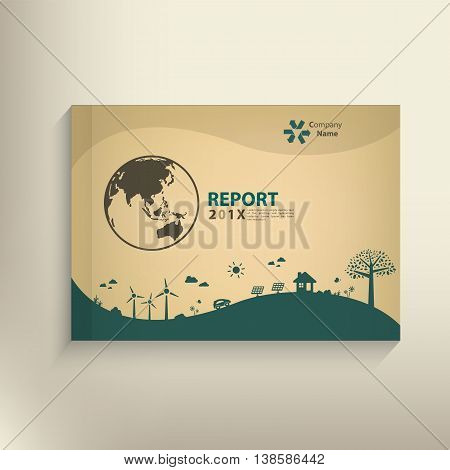 Save The World Vector Csr Report Cover Design For Go Green Concept