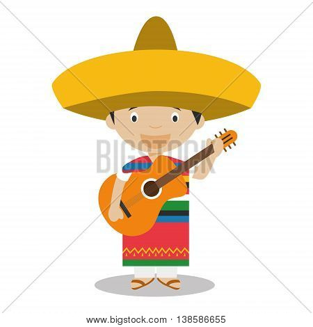 Character from Mexico dressed in the traditional way with guitar. Vector Illustration. Kids of the World Collection.