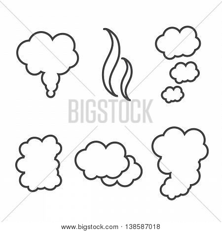 Set of flow smoke abstraction icons isolated eps10