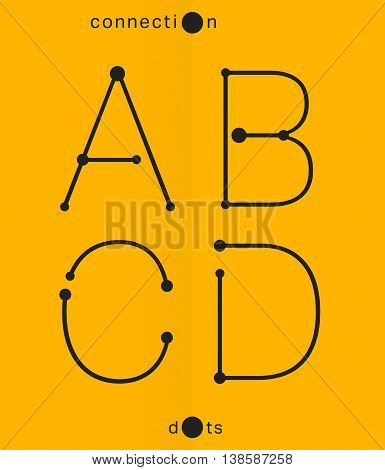 Alphabet font template. Set of letters A B C D logo or icon. Connection dots design. Vector illustration.