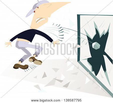 Riots on the streets. Angry man breaks the window by stone