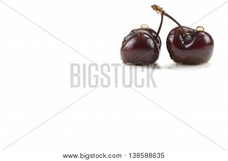 Two cherries in water drops on white background