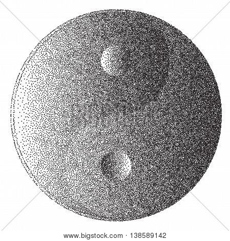 Yin and Yang sign in a dotter stipple style effect