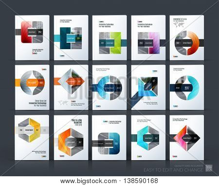 Brochure template layout, cover design annual report, magazine, flyer or leaflet in A4 with triangle, circle and square with overlap effect for business with industrial and modern concept. Vector set.