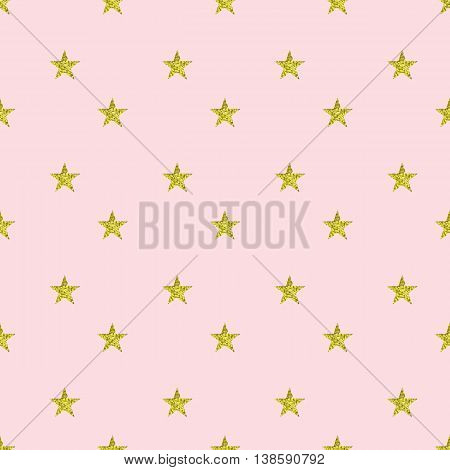 Vector seamless pola dot pattern made of glittering stars on pink background.