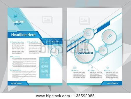 A4 Size Medical Flyer Brochure Layout Template with Blue Color with icons