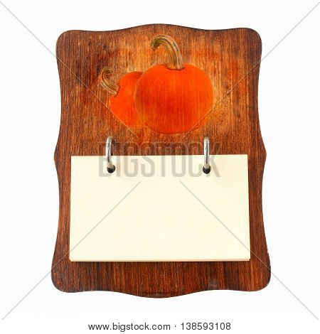 brown wooden recipe holder for pumpkin recipes, in retro style isolated on white background