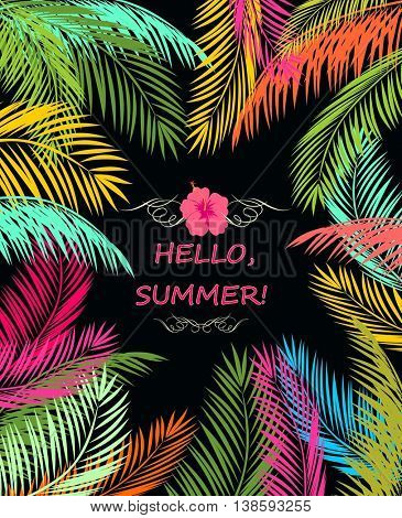 Summery poster with colorful palm leaves