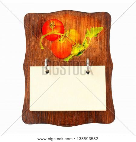 brown wooden recipe holder for tomato recipes, in retro style isolated on white background