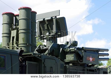 modern anti-aircraft missile system on a combat stance