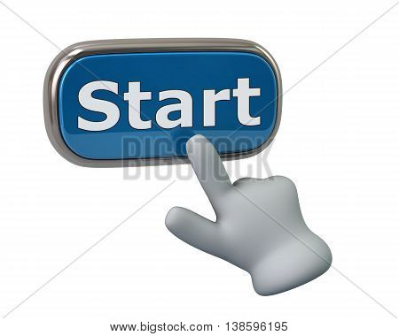 3d illustration. Hand pressing blue start button isolated on white background