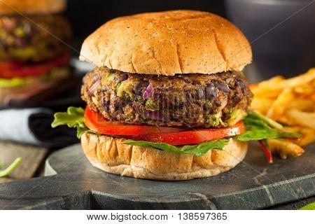 Vegan Homemade Portabello Mushroom Black Bean Burger