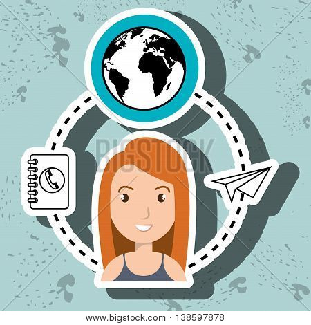 woman and world and telephone isolated icon design, vector illustration  graphic