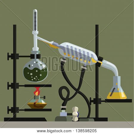 apparatus for distillation, purification and separation of volatile zhitkost. The installation consists of round-bottom flask, reflux condenser, thermometer, spiral refrigerator, flat-bottomed flask and alonzha poster