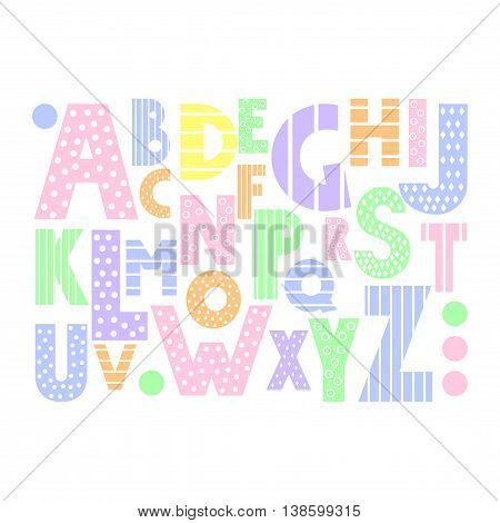 Colorful cartoon alphabet on white background. Cute abc design for book cover, poster, card, print on baby's clothes, pillow etc. Pastel colors decorative letters composition.
