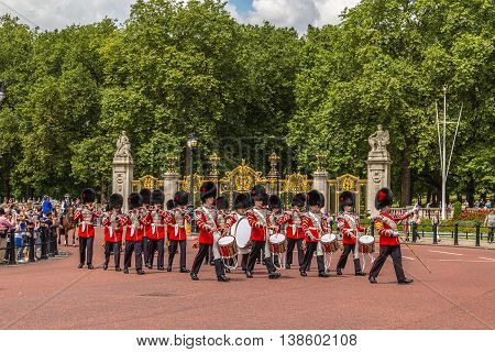LONDON UK - 28TH JUNE 2016: Musicians at the Changing of the Guard Performance at Buckingham Palace in the summer.