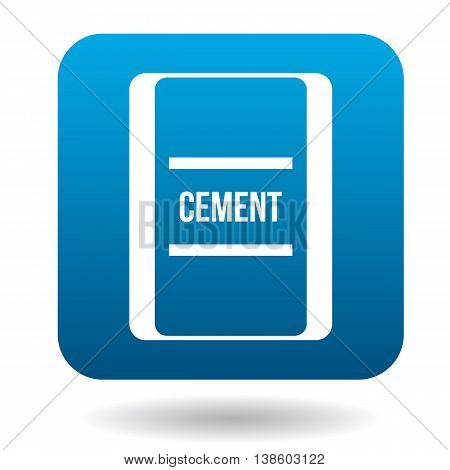 Bag of cement icon in simple style in blue square. Building materials symbol