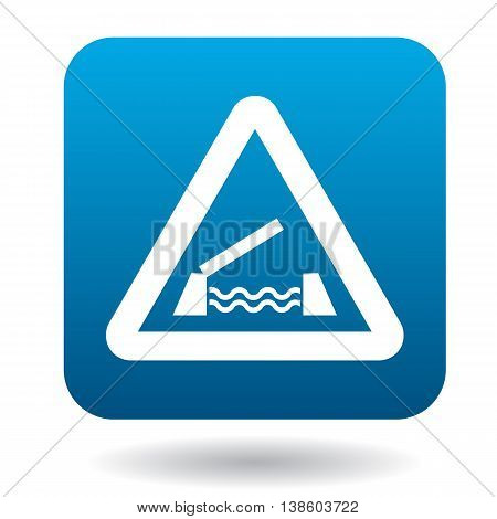 Sign sliding bridge icon in simple style in blue square. Rules of the road symbol