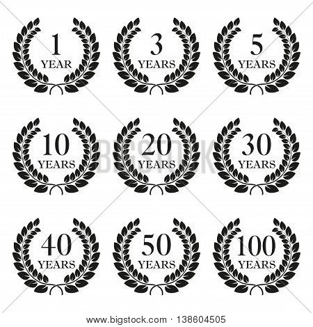Anniversary laurel wreath icon set isolated on white background. 1, 3, 5, 10, 20, 30, 40, 50, 100 years. Template for award and congratulation design. Vector illustration.