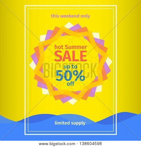 Summer sale banner template. Yellow summer Sale poster. Abstract sun and water wave. summer background sun patterned colored wave. Vector Graphics.