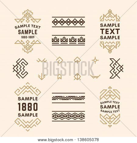 Set Of Line Art Decorative Geometric Vector Frames And Borders In Browns. Vector Ornaments, Vector D