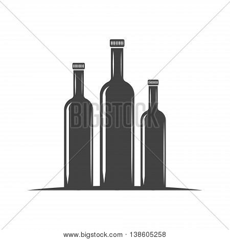 Three bottles for oil with screw cap. Black icon logo element flat vector illustration isolated on white background.