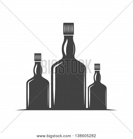 Three bottles for whiskey with screw cap. Black icon logo element flat vector illustration isolated on white background.